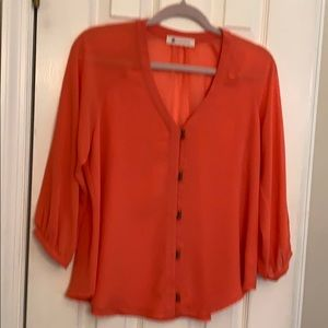 NWOT coral blouse by Impeccable Pig , size 12